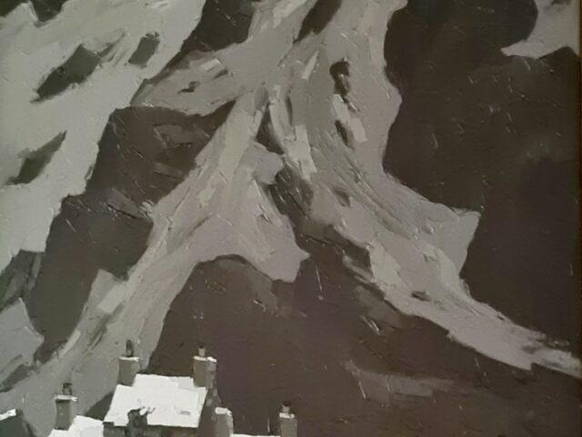 Kyffin Williams: Gwastadnant yn yr Eira, 1966 (olew ar ganfas, wedi ei fframio)