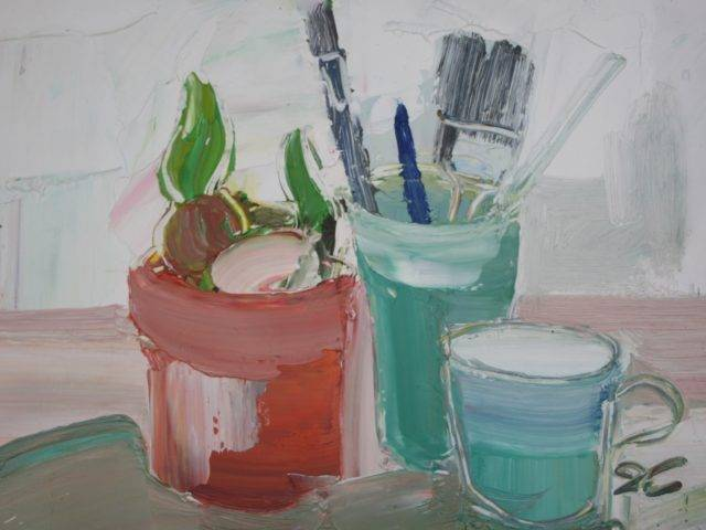 Sarah Carvell - Still Life with Pot of Brushes