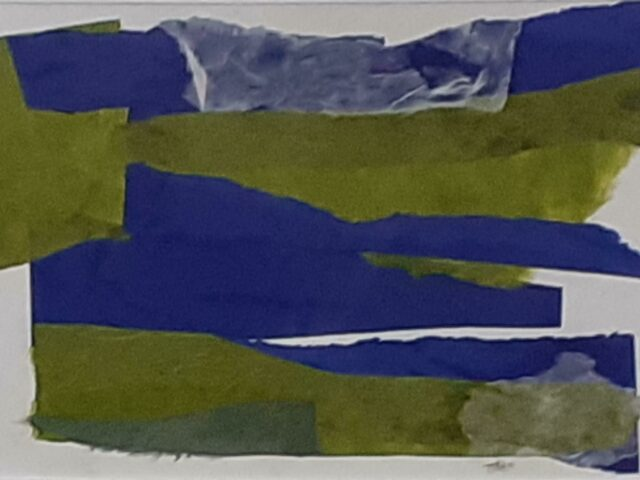 Janie McLeod: Fields amidst the blue (mixed media collage, framed)