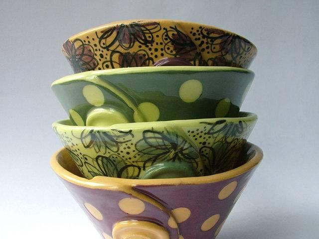 Maroon and Lime Sugar Bowls