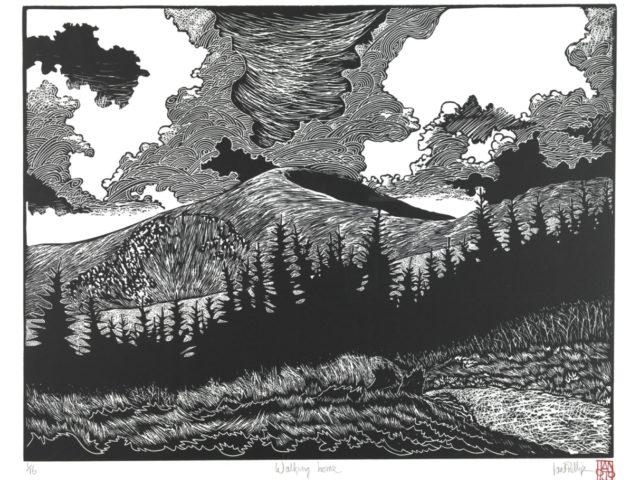 Ian Phillips: Cerdded Adref (print lino, heb ei fframio)