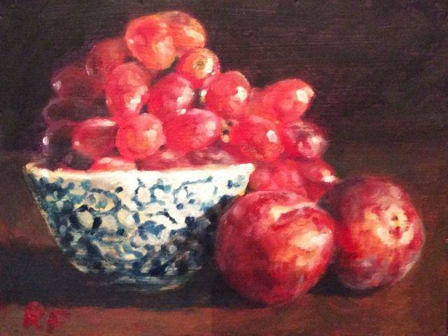 Still Life with Grapes, Plums and China Bowl