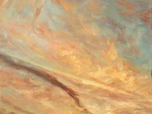 Vapour trails in sunrise study