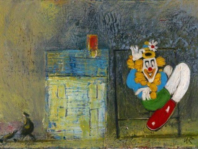 Wil Rowlands: Clown, Rhyl (amlgyfrwng, wedi ei fframio)